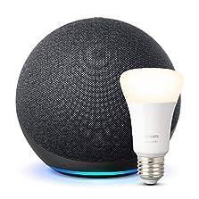 Der neue Echo (4. Generation), Anthrazit + Philips Hue White LED-Lampe©Amazon