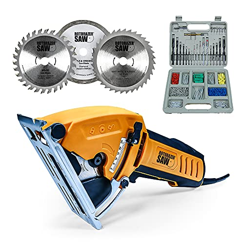 Official ROTORAZER Compact Circular Saw Set BUNDLE with extra Blades plus drill set. DIY Projects -Cut Drywall, Tile, Grout, Metal, Copper, Carpet w Blades, Dust Collector & Case AS SEEN ON TV