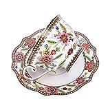 fanquare Vintage Taza de Té de Flores Rojas China de Hueso, Juego de Taza de Café y Platillo de Porcelana, 200ml