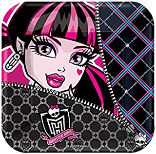 amscan Freaky Fab Monster High Square Paper Dessert Plates Birthday Party Disposable Tableware (8 Pack), Multi Color, 7