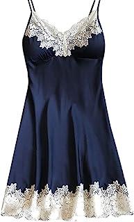 06365b7f1c CMrtew Women s Sexy Lingerie Silk Nightgown Dress Lace Night Dress  Sleepwear Satin Homewear Chest Pad Nightwear