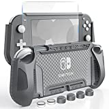 HEYSTOP Coque pour Nintendo Switch Lite, Coque de Protection Portable et Durable en TPU, Absorption des Chocs Anti-Rayures Anti-Dérapantes, avec Verre Trempé et Poignées Couvre Pouce - Gris