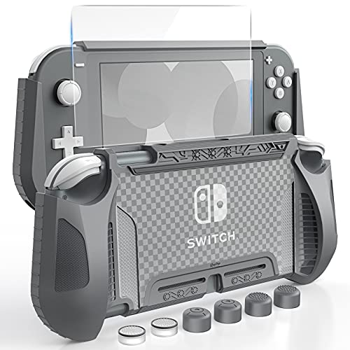 HEYSTOP Case Compatible with Nintendo Switch Lite, with Tempered Glass Screen Protector and 6 Thumb Grip, TPU Protective Cover for Switch Lite with Anti-Scratch/Anti-Dust (Grey)
