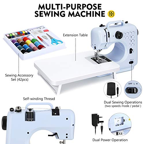 Magicfly-Sewing-Machines-for-Beginners-12-Built-in-Stitches-Portable-Mini-Sewing-Machine-with-Reverse-Sewing-3-Replaceable-Feet-Extension-Table-Electric-Sewing-Machine-for-Kids-Adults-Blue