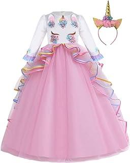 IZKIZF Girls Unicorn Costume Princess Long Maxi Tulle Dress w/Headband Birthday Party Carnival Cosplay Long Sleeve Outfits