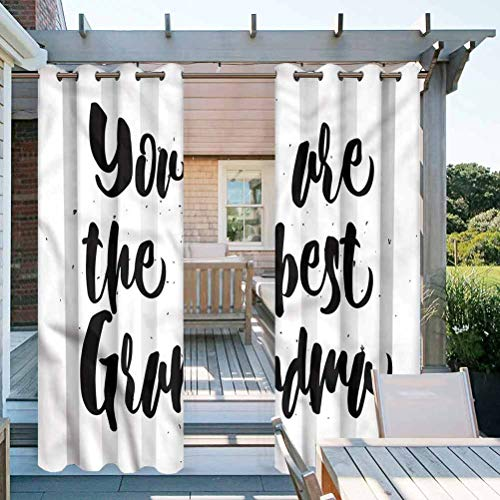 ParadiseDecor Grandma Washable Curtains for Pergola/Sunroom Black and White Quote 108
