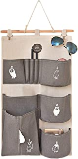 Wall Door Hanging Storage Bags Polyester Cotton Hanging Organiser Multi-Pocket Home Wall Bag Holder with Hooks  Gray