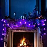 NEXVIN Halloween Deko, 3 Stück 20 LED Halloween Lichterkette Batterie für Außen & Innen Dekoration, Orange Kürbis/Weiß Geister/Lila Fledermaus - 3