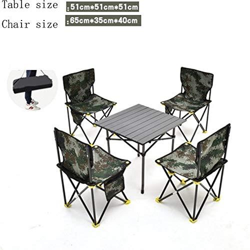 Yuanyuanliu Outdoor-Picknick-Tisch Tragbare Outdoor-Camping Faltbare Leichte Aluminium-Tische Tische Stühle Klapptisch Zusammensetzung (Color : Green, Size : S)