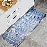 HARXISE Alfombras para Cocina Baño de Cocina Absorbente Alfombrilla,Ceremonia de Boda Decoración Tono Azul Cortina Arco Flores Ramo Celebración matrimonial,para Dormitorio Baño Antideslizantes