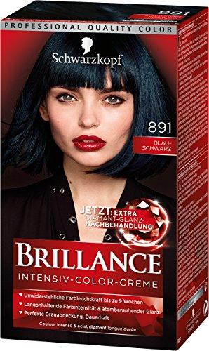 Schwarzkopf Brillance Intensiv-Color-Creme, 891 Blau-Schwarz Stufe 3, 3er Pack (3 x 143 ml)