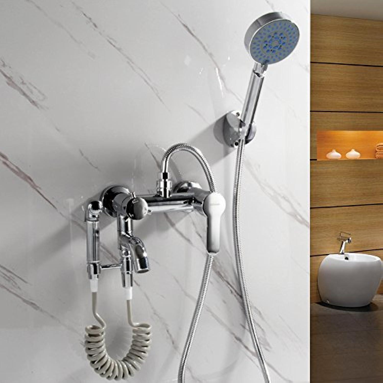 Küche oder Badezimmer Waschbecken Mixer einfache Dusche Kit Duschkopf Spülen Wasser Mischventil Triple Badewanne heies Wasser und kalte Frau Waschen Kupfer Spritzpistole, unter Druck stehende Sprinkler B Tippen tippen Sie auf