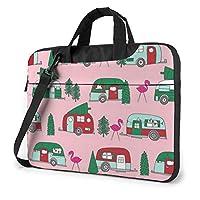クリスマスキャンピングカーフラミンゴ車の木 PCバッグ コンピューターバッグ ラップトップ 保護カバー 片方の肩 非表示 ポータブル 防水 耐震 多機能 おしゃれ 手で提げる パック