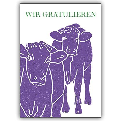 Wenskaarten met korting voor hoeveelheid: Vrolijke verjaardagskaart met twee paarse koeien: Wij feliciteren • nobele felicitatiekaart voor verjaardag met envelop zakelijk & privé 16 Grußkarten