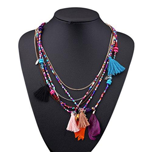 LUFA Perles en forme de perles de perles en alliage pendentif multicolore long collier