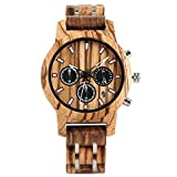 AZDS Reloj de Madera Reloj para Hombre Reloj de Madera Pantalla de Fecha Hombres Ocasionales Cronógrafo de Madera Relojes Deportivos Militares de Cuarzo en Madera Regalos para Amantes