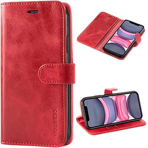 Mulbess Handyhülle für iPhone 11 Hülle Leder, iPhone 11 Handy Hüllen, Vintage Flip Handytasche Schutzhülle für iPhone 11 Case, Wein Rot
