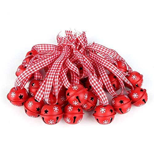 DYHM cascabeles 20PCS Rojo Metales Copos de Nieve de los cascabeles Colgantes Decorativos Decorado for la Familia...