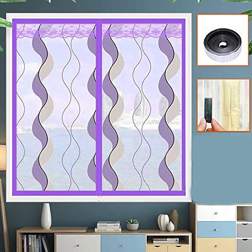 Fenetre Magnetique, Magneto Mesh Screen en Maille Filet Rideau Rideau de Moustiquaire Insect Stop Moustiquaire avec Bande Adhésive, (Violet, Bleu)