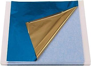 VGSEBA Imitation Gold Foil Sheets-100 Pieces Blue-Gold Color Metal Leaf Papers for Gilding Crafts, Furniture Decorations, ...