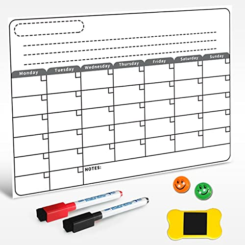 Calendario mensual de Pizarra magnética de tamaño A3, Dibujo de Pizarra Blanca de borrado en seco para Cocina, frigorífico, refrigerador, cepilladora semanal - e1, Color Blanco