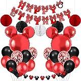 Jollyboom Mickey Anniversaire Minnie Decoration Anniversaire Rouge et Noir Ballons de Guirlande Minnie Joyeux Anniversaire bannière pour Anniversaire Baby Shower