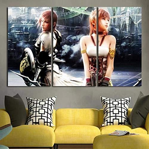 IMAX888 3 Piezas De Pared Fotos Cuadros En Lienzo Personaje Lightning Y Serah Farron HD Imprimir Modern Artwork Decoración De Arte De Pared Living Room 3 Piezas Artística Cuadros