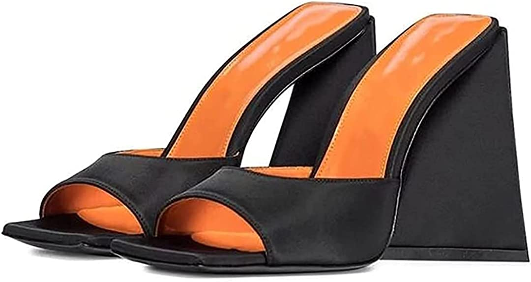 Women Open Square Toe Heeled Mules Triangle Block High Heels Slide Sandals Strange Chunky Heel Summer Slippers Shoes