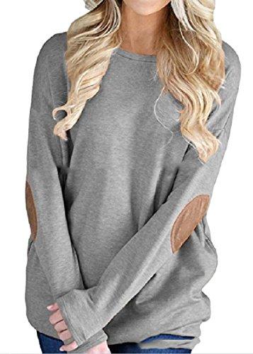 DressUWomen Vogue Brochage manches chauve-souris col rond Pull T-Chemisiers Haut Femme Gris clair S