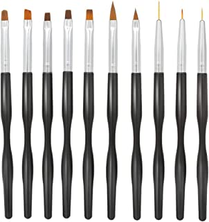 Anself 10pcs Nail Brush Set for Detailing, Striping, Blending,UV Gel Flower Drawing for Professional Nail Art Polish Tool - Black Handle