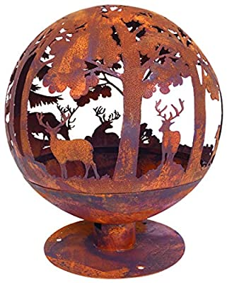 Esschert Fire Ball, 58 x 58 x 66 cm, Brown Metal Camp Fire Bowl, Rust Look from Dekowunder