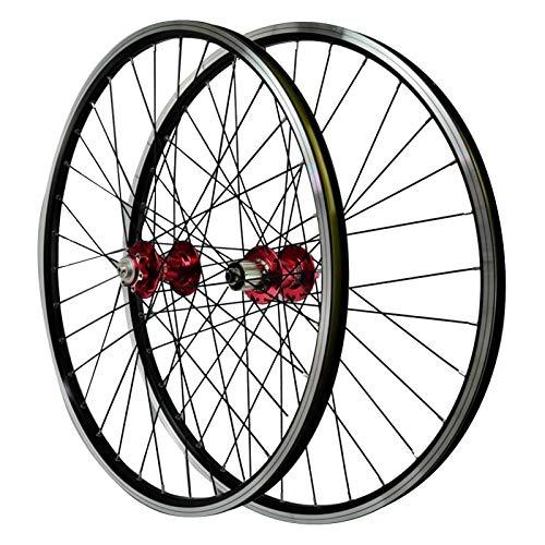 26'' Ciclismo Wheels,Llanta de Aleación Aluminio de Doble Pared Buje Delantero 2 Trasero 4 Cojinetes Freno de Disco En V Deportes (Color : Red)