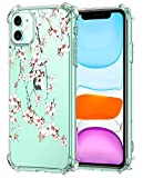Oihxse Cristal Compatible con iPhone 12 MAX 6.1'' 2020 Funda Transparente TPU Silicona Estuche Airbag Esquinas Anti-Choque Anti Rasguños Diseño Rosa Flower Caso (Flores B7)