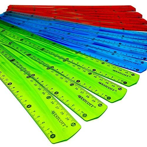 Westcott 12 Inch/30 cm - Translucent Shatterproof Flexi Ruler - Pack of 12-3 Assorted Colours