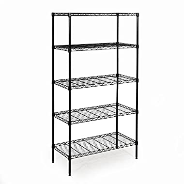 Seville Classics 5-Tier Black Epoxy Steel Wire Shelving, 14  D x 30  W x 60  H