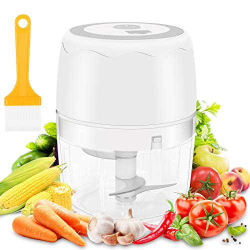 moleath Electric Mini Food Chopper 400ML Wireless Portable Garlic Grinder Mincer Blender Multifunctional Food Slicer Processor for Cutting GarlicFruitsVegetablesNuts MeatBaby Food White
