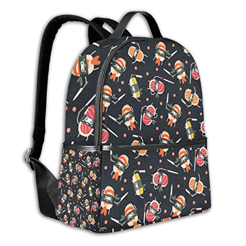 Sushi Knife Cute Japanese Best Black School Backpack Lightweight Schoolbag Travel Camp Outdoor Daypack Bookbag Durable Daypack For Man Women Girl Boy Kids