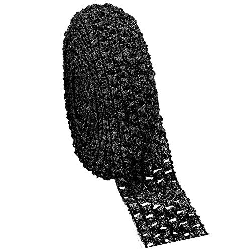GORGECRAFT 5.5 Yards 1.7' Wide Elastic Crochet Headband Ribbon Crochet Stretch Trim Fabric for Hair Accessories Tube Top, Black