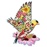 Bits and Pieces - 300 Piece Shaped Jigsaw Puzzle for Adults 20' X 27' - Gold Finch Garden - 300 pc Bird Blossem Flower Wing House Cardinal Colorful Shaped Jigsaw by Artist Jack Williams