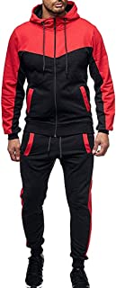 Mens Tracksuit 2PC Set Patchwork Sweatshirt Jogger Sweatpants Solid Hooded Sports Suit