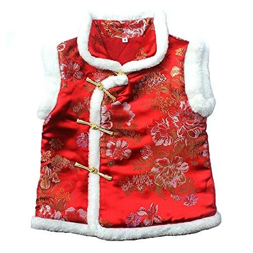Hooyi Children Girl Sleeveless Qipao Girl Thick Vest Kid Quilted Jacket New Year Cheongsam (Red, 6)