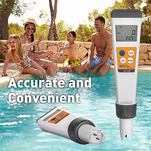 JENCO Vision Plus Series pH/EC80 Premium Waterproof Meter - (Conductivity) /TDS (ppm) /Salinity (PPT) /Temp. Multi-Parameter Pocket Tester Kit. Great for Hydroponic Growers, Pools & Spas, & Aquariums