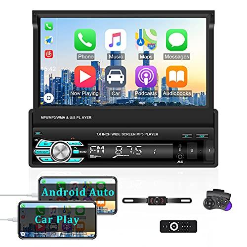 1 Din Autoradio Bluetooth mit Carplay / Android Auto 7\'\' Touchscreen Stereo Unterstützung Mirror Link, FM, SWC + Rückfahrkamera für Nummernschild