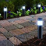 LED LOVERS Poste de Luz Solar LED de jardín, Juego de 4, Lámpara de Pie de Acero inoxidable,...