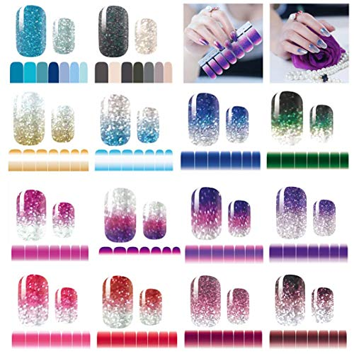 14 Sheets Nail Stickers Glitter Gradient Color Shine Full Wraps Polish Stickers Decal Strips Self-Ashesive Nail Art Sets for Women Girls