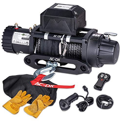 AC-DK 9500 lb. Electric Winch Synthetic Rope Kit, 12V Waterproof IP67 Badlands Winch with Hawse Fairlead, with 2 Wireless Remotes and Wired Handle 4WD Recovery Winch(9500lbs Synthetic Rope)
