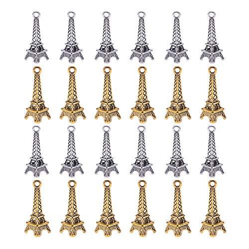 NBEADS Encantos Colgantes de la Torre Eiffel de Estilo Tibetano de 100 Pieza, Accesorios de la Torre Eiffel de Aleación Vintage para Llavero Correa para Teléfono Decoración Collar Pulsera