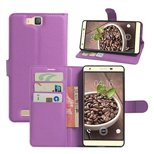 HualuBro Cubot H2 Hülle, [All Aro& Schutz] Premium PU Leder Leather Wallet HandyHülle Tasche Schutzhülle Case Flip Cover mit Karten Slot für Cubot H2 5.5 Inch Smartphone (Violett)