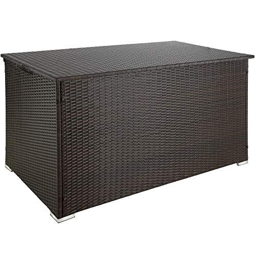 TecTake 800715 Aluminium Polyrattan Auflagenbox, wetterfeste und rostfreie Konstruktion, mit Gasdruckfedern, 750 Liter, 145 x 82,5 x 79,5 cm – Diverse Farben - (Braun | Nr. 403275)