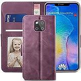 YATWIN Handyhülle Huawei Mate 20 Pro Hülle, Klapphülle Huawei Mate 20 Pro Premium Leder Brieftasche Schutzhülle [Kartenfach][Magnet][Stand] Handytasche für Huawei Mate 20 Pro Hülle, Weinrot